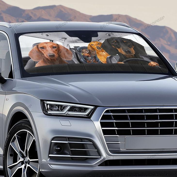 Dachshunds Family Driving Car Sunshade 2