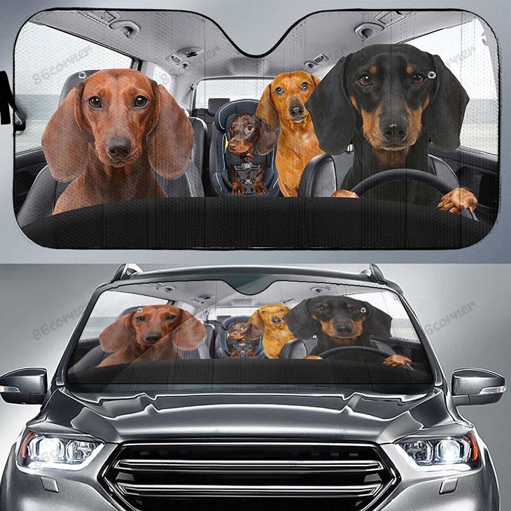 Dachshunds Family Driving Car Sunshade