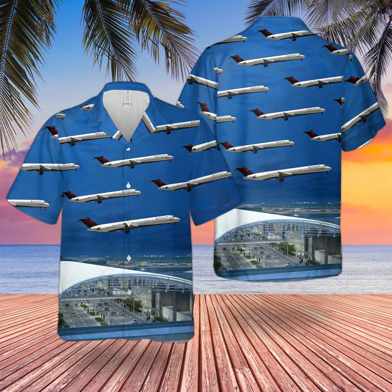 Delta Air Lines McDonnell Douglas MD 88 Hawaiian Shirt 2