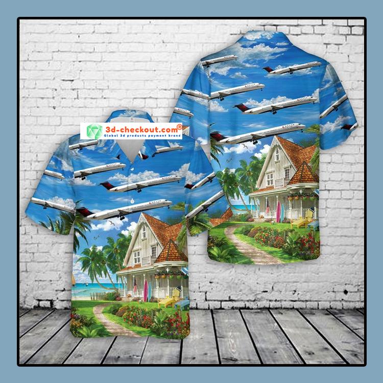 Delta Air Lines McDonnell Douglas MD 88 Hawaiian Shirt1