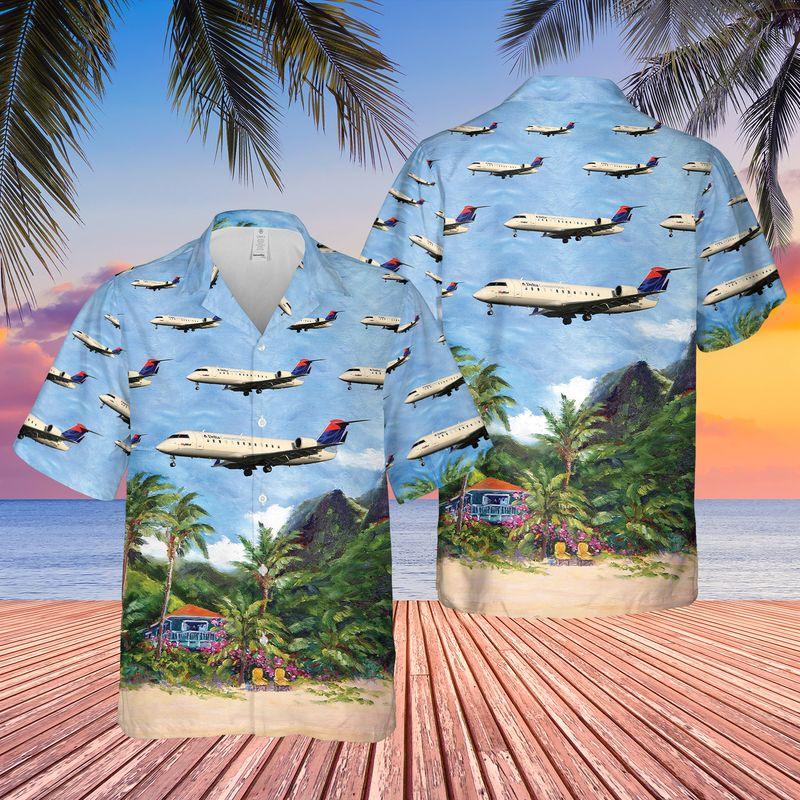 Delta Connection SkyWest Airlines Bombardier CRJ 100LR Hawaiian Shirt