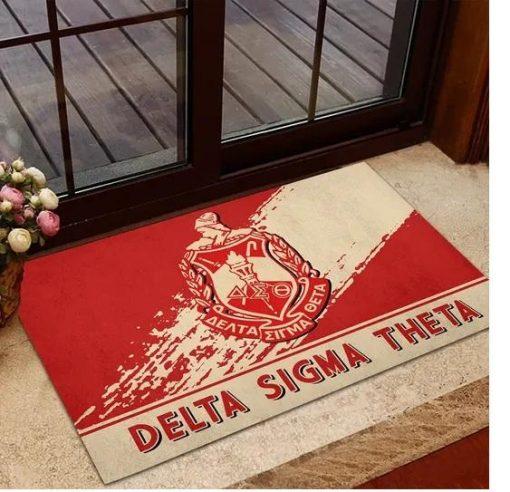 Delta Sigma Theta 1913 Emblem Red and Beige Doormat1