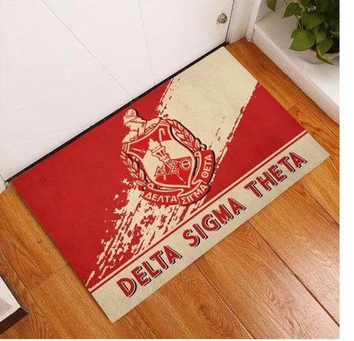 Delta Sigma Theta 1913 Emblem Red and Beige Doormat2