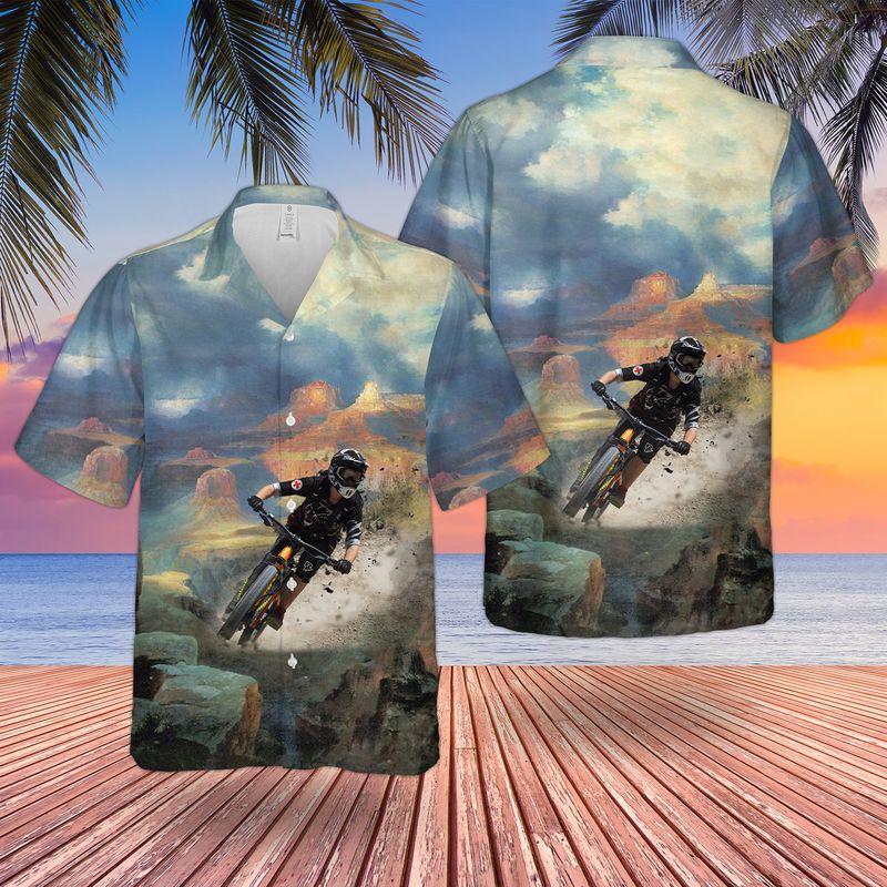 Downhill Mountain Biking Hawaiian Shirt