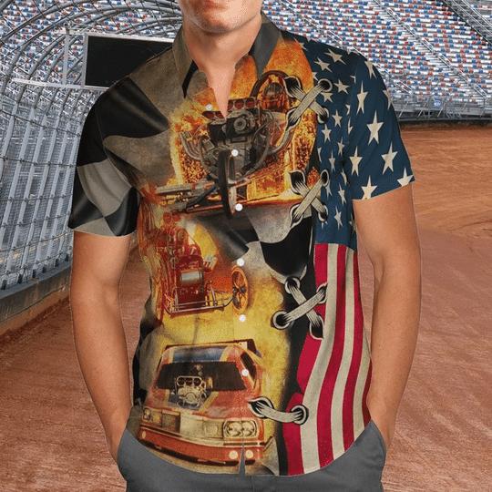 Drag racing american flag hawaiian shirt