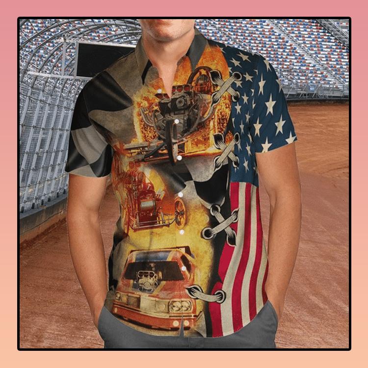 Drag racing american flag hawaiian shirt2