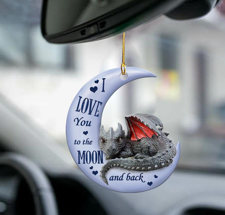 Dragon I Love You to the moon and back ornament