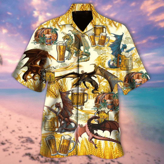 Dragons drinking beer hawaiian shirt