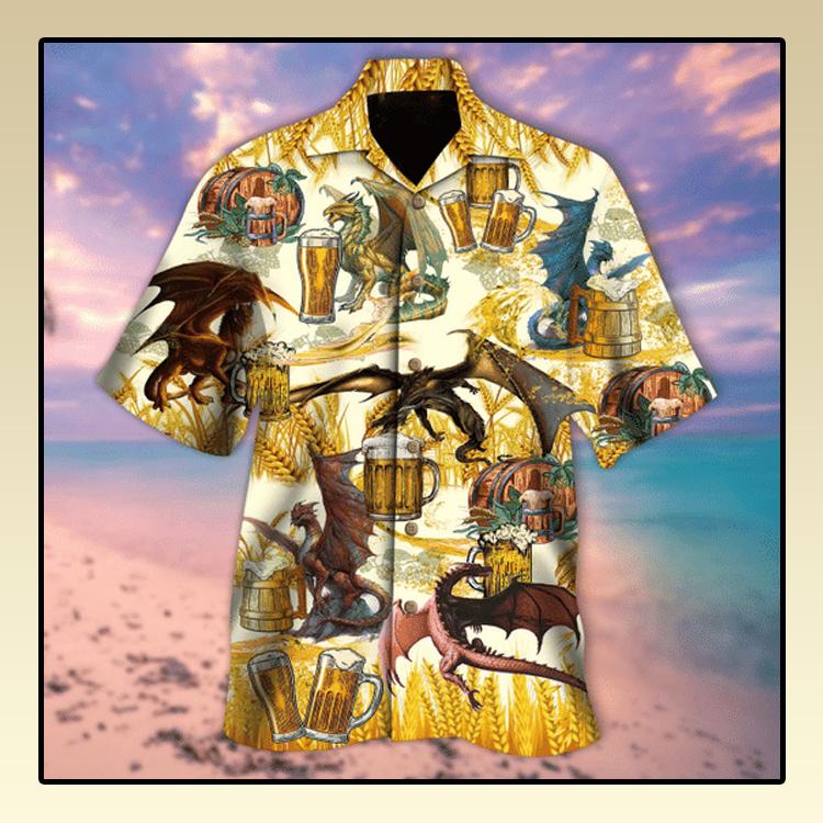 Dragons drinking beer hawaiian shirt2