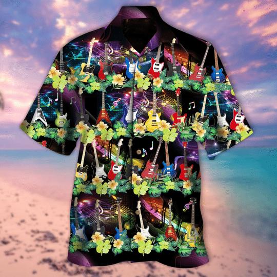 Electric guitar aloha hawaiian shirt