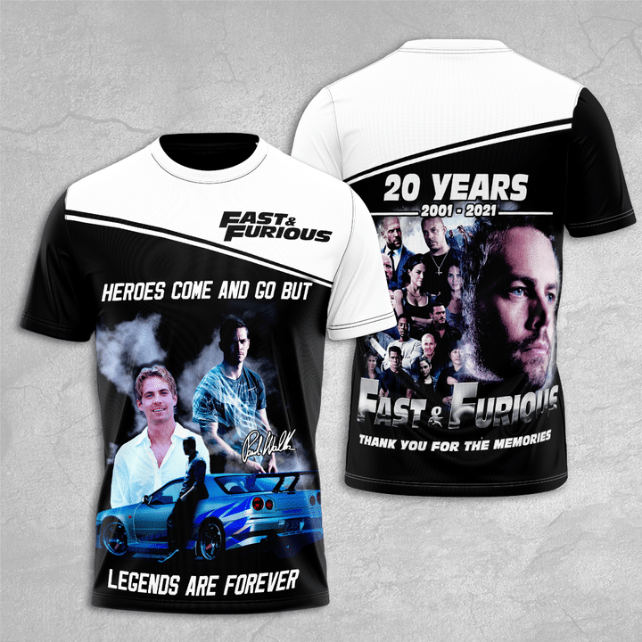 Fast And Furious 20 Years 2001 2021 T Shirt