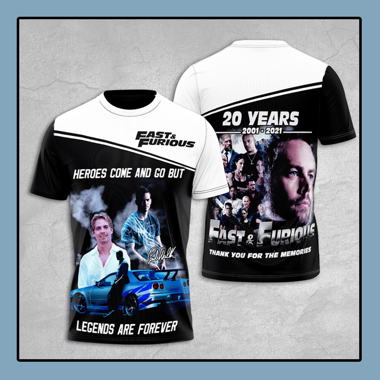 Fast And Furious 20 Years 2001 2021 T Shirt1