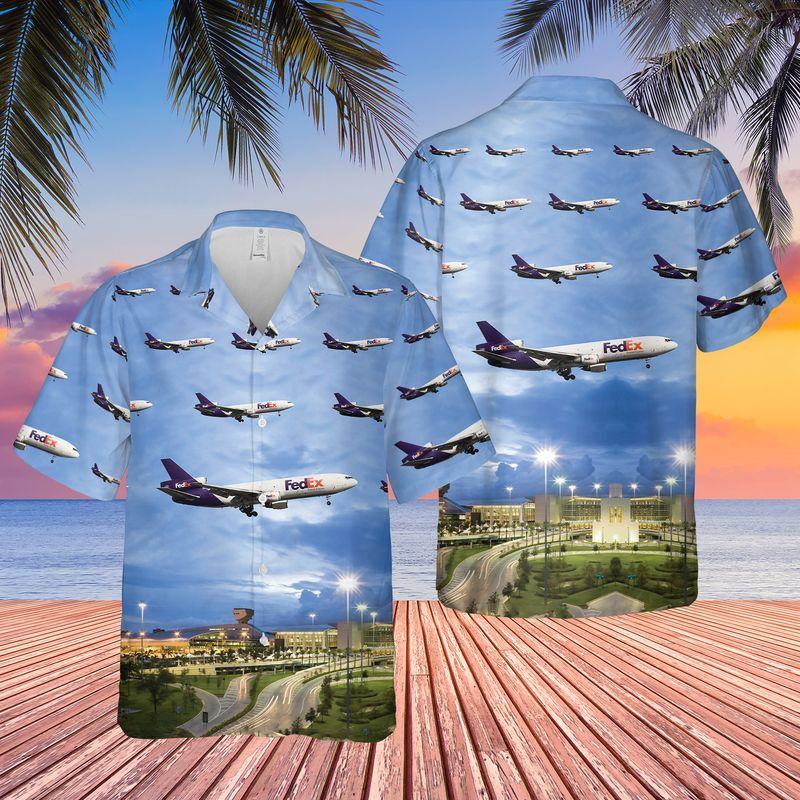 FedEx Express McDonnell Douglas MD 10 Miami International Airport Hawaiian Shirt