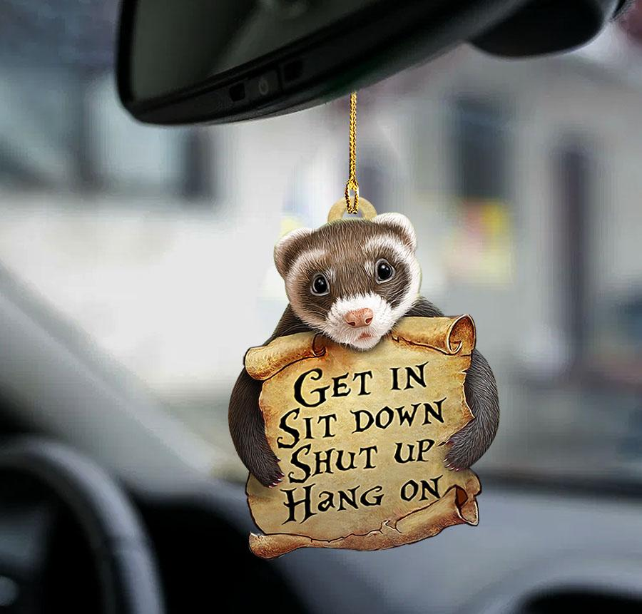 Ferret get in sit down shut up hang on ornament