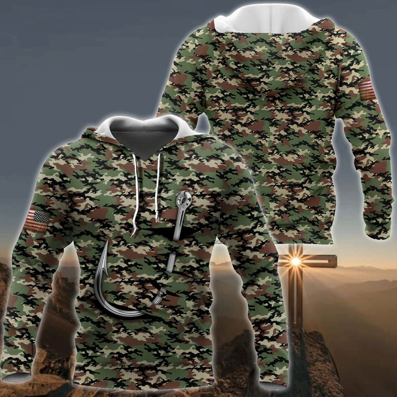 Fishing hook camo 3d all over print hoodie