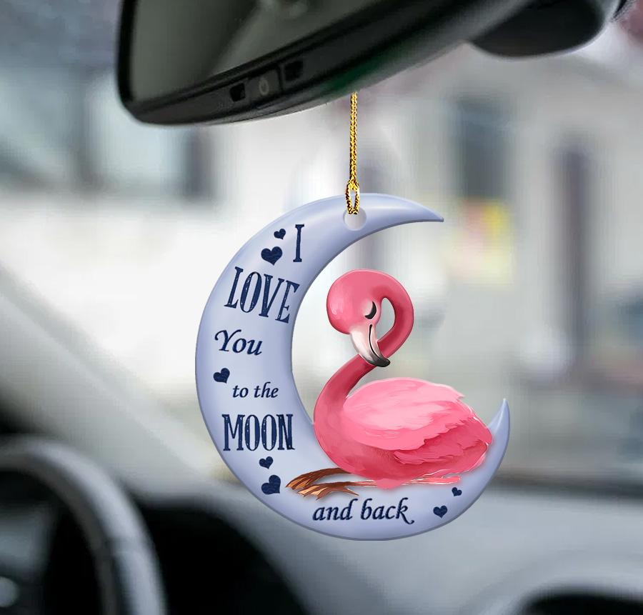 Flamingo moon I Love You to the moon and back ornament