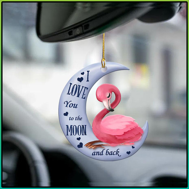 Flamingo moon I Love You to the moon and back ornament1