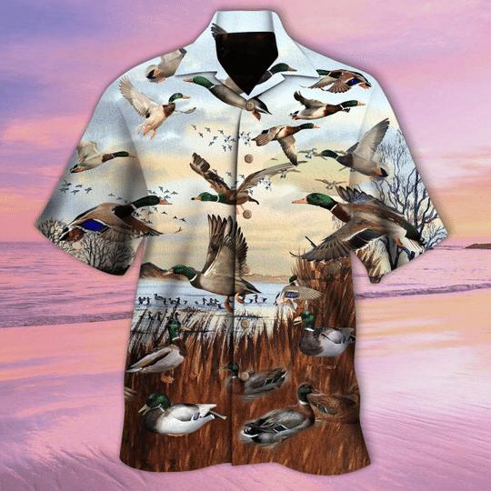 Flying duck for duck hunter hawaiian shirt