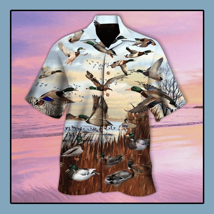Flying duck for duck hunter hawaiian shirt4