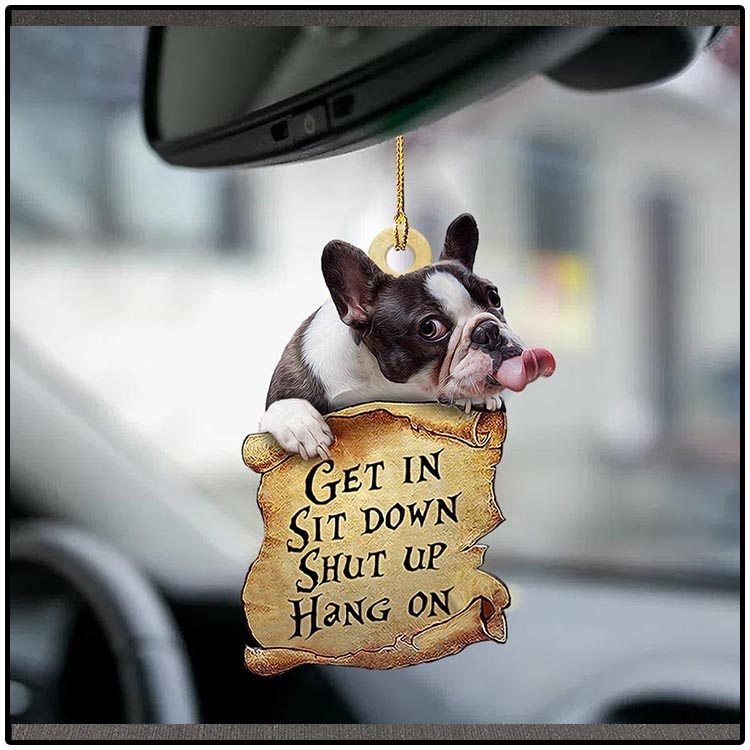 French bulldog get in sit down shut up hang on ornament2