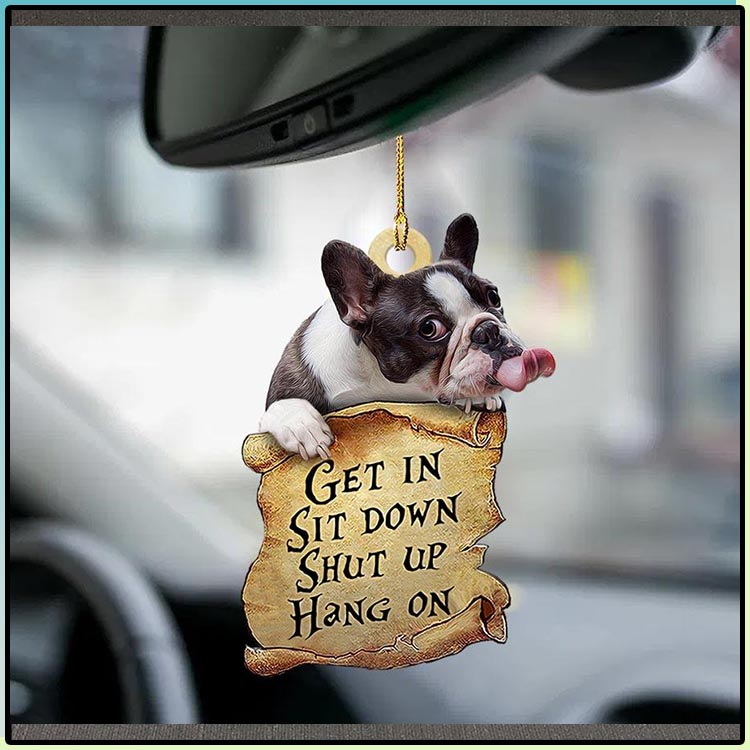 French bulldog get in sit down shut up hang on ornament3