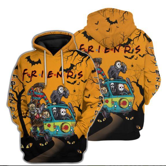 Friends Horror Halloween 3d Hoodie Custom Name