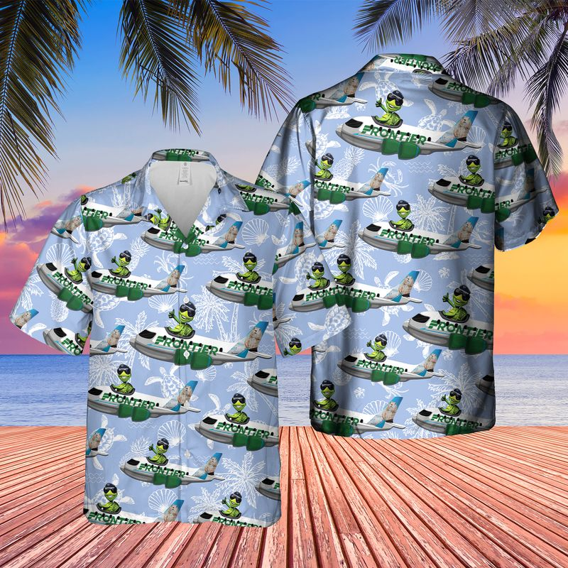 Frontier Airlines Turtle On Airbus Hawaiian Shirt