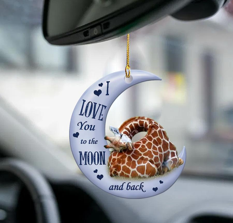 Giraffe I Love You To The Moon And Back Ornament