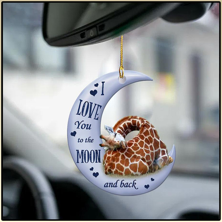 Giraffe I Love You To The Moon And Back Ornament2