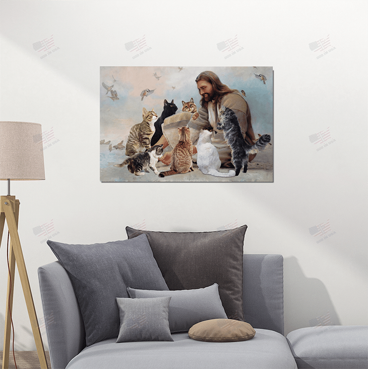 God Surrounded By Cats Angels Poster And Canvas1