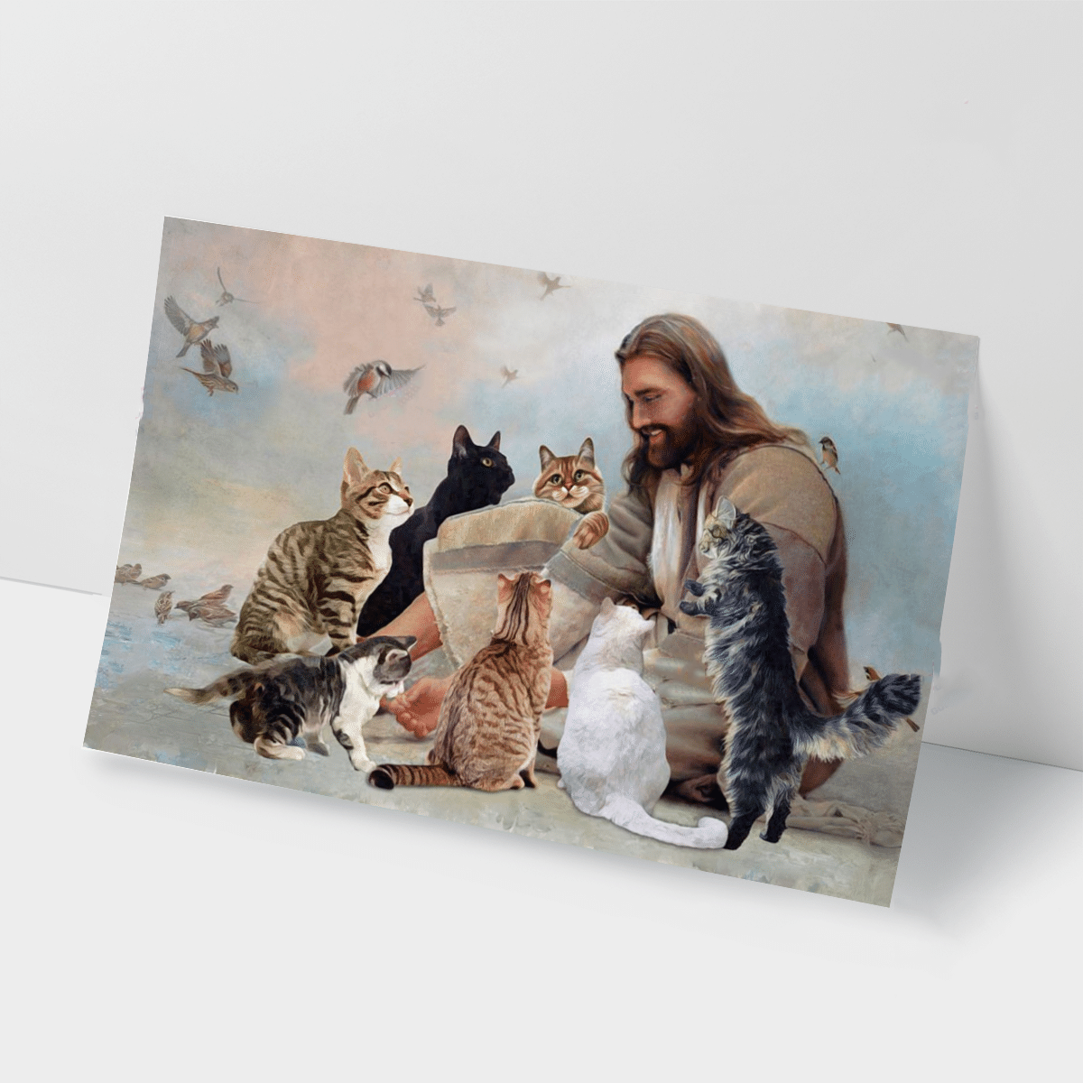 God Surrounded By Cats Angels Poster And Canvas2