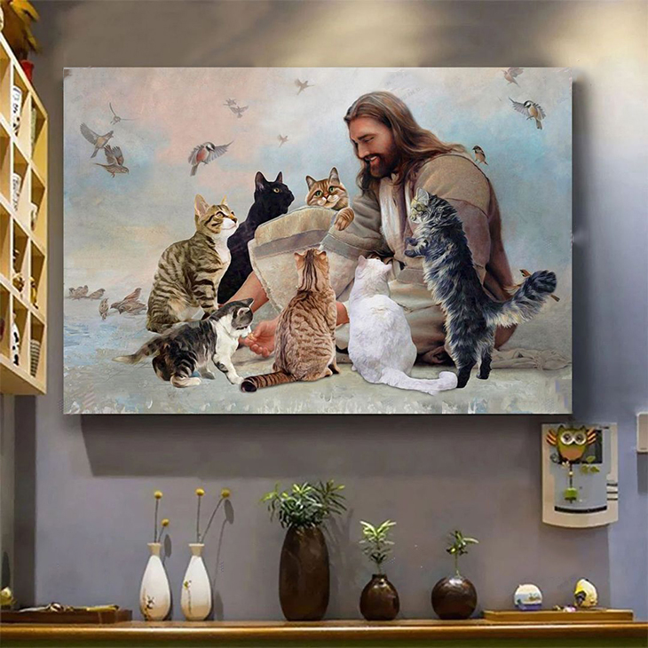 God Surrounded By Cats Angels Poster And Canvas3