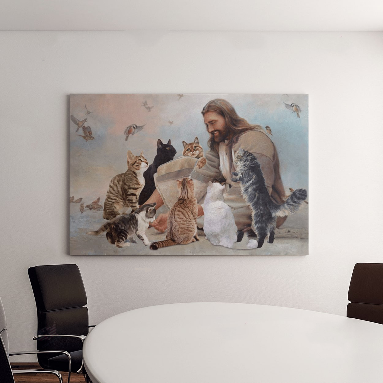 God Surrounded By Cats Angels Poster And Canvas4
