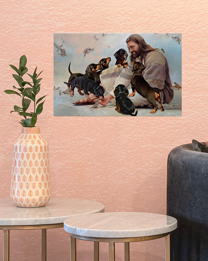 God Surrounded By Dachshund Andels Gift For You Horizontal Poster1