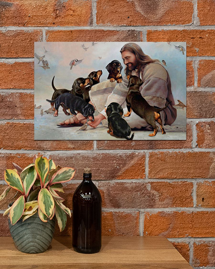 God Surrounded By Dachshund Andels Gift For You Horizontal Poster2