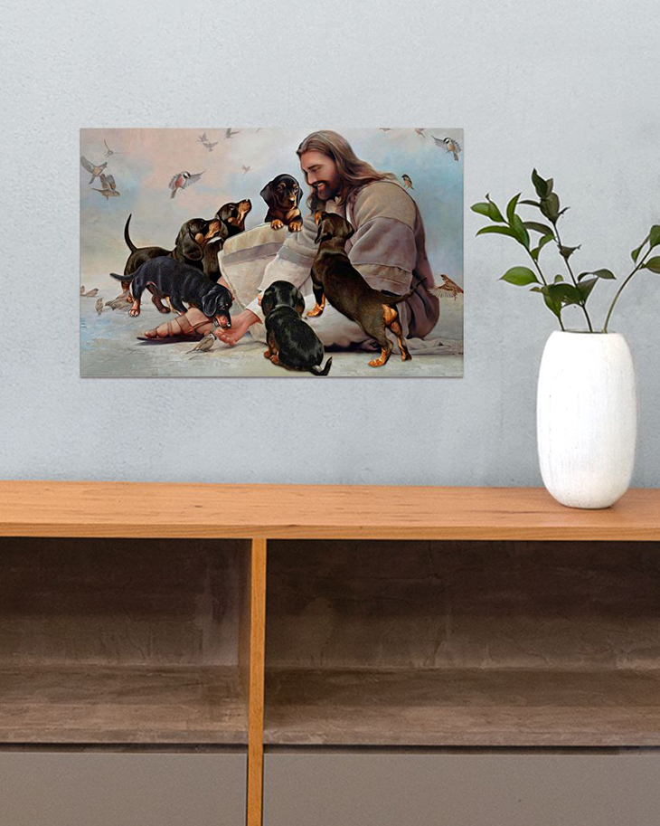God Surrounded By Dachshund Andels Gift For You Horizontal Poster3