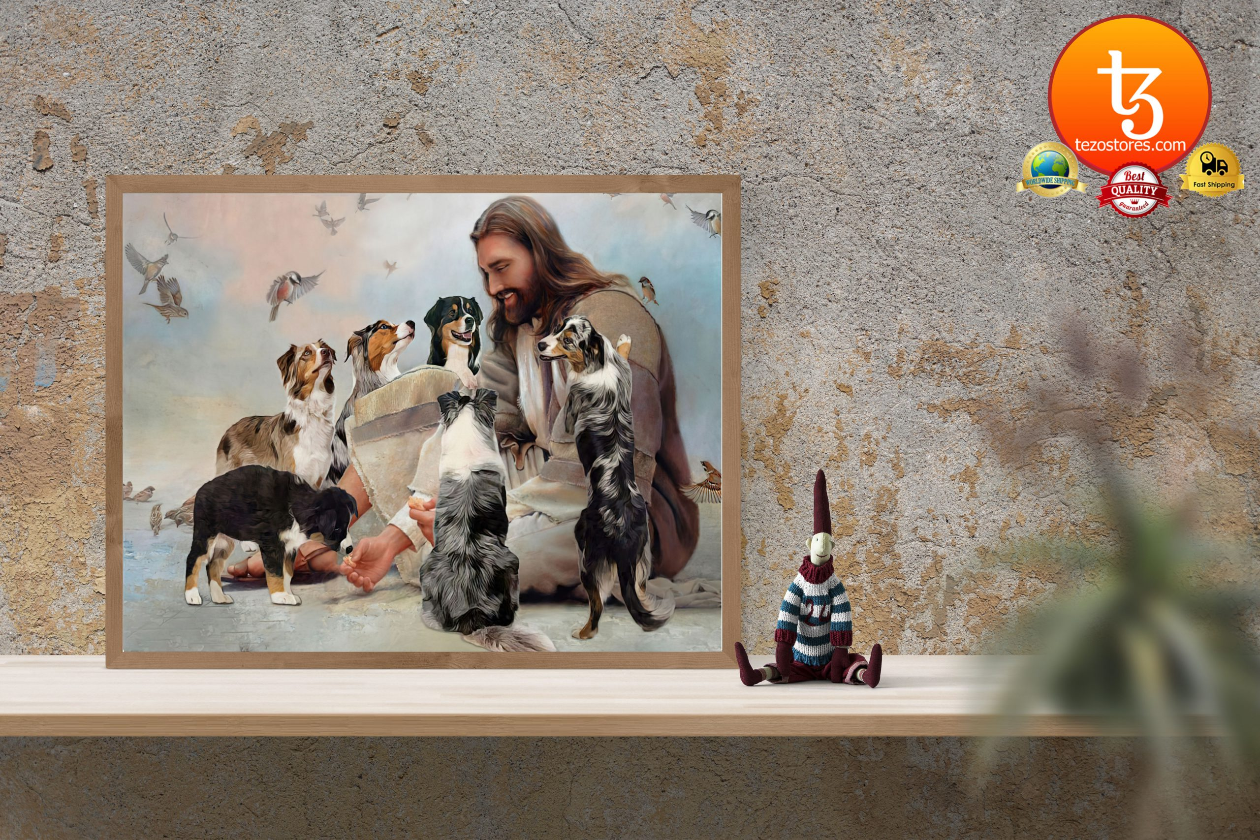 God surrounded by Australian Shepherd Aussie angels Poster3