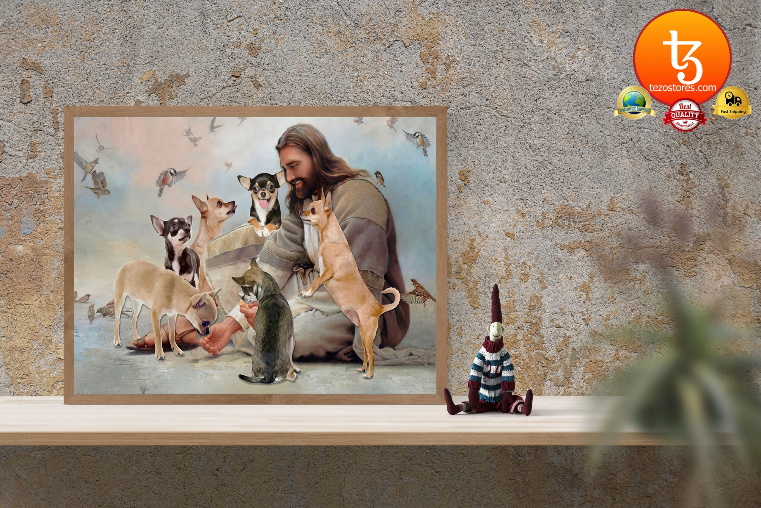 God surrounded by Chihuahua angels Poster3