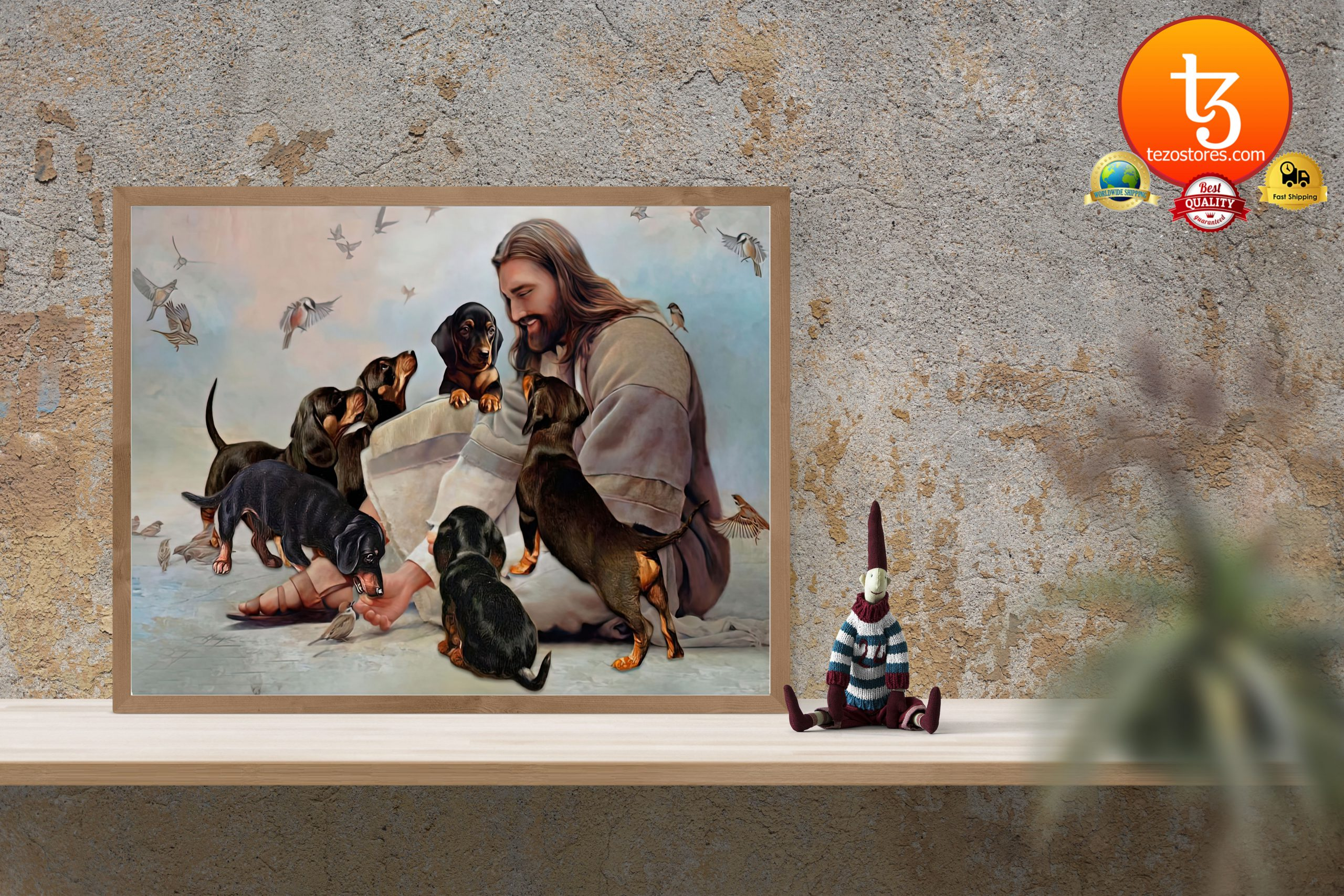 God surrounded by Dachshund angels Poster3