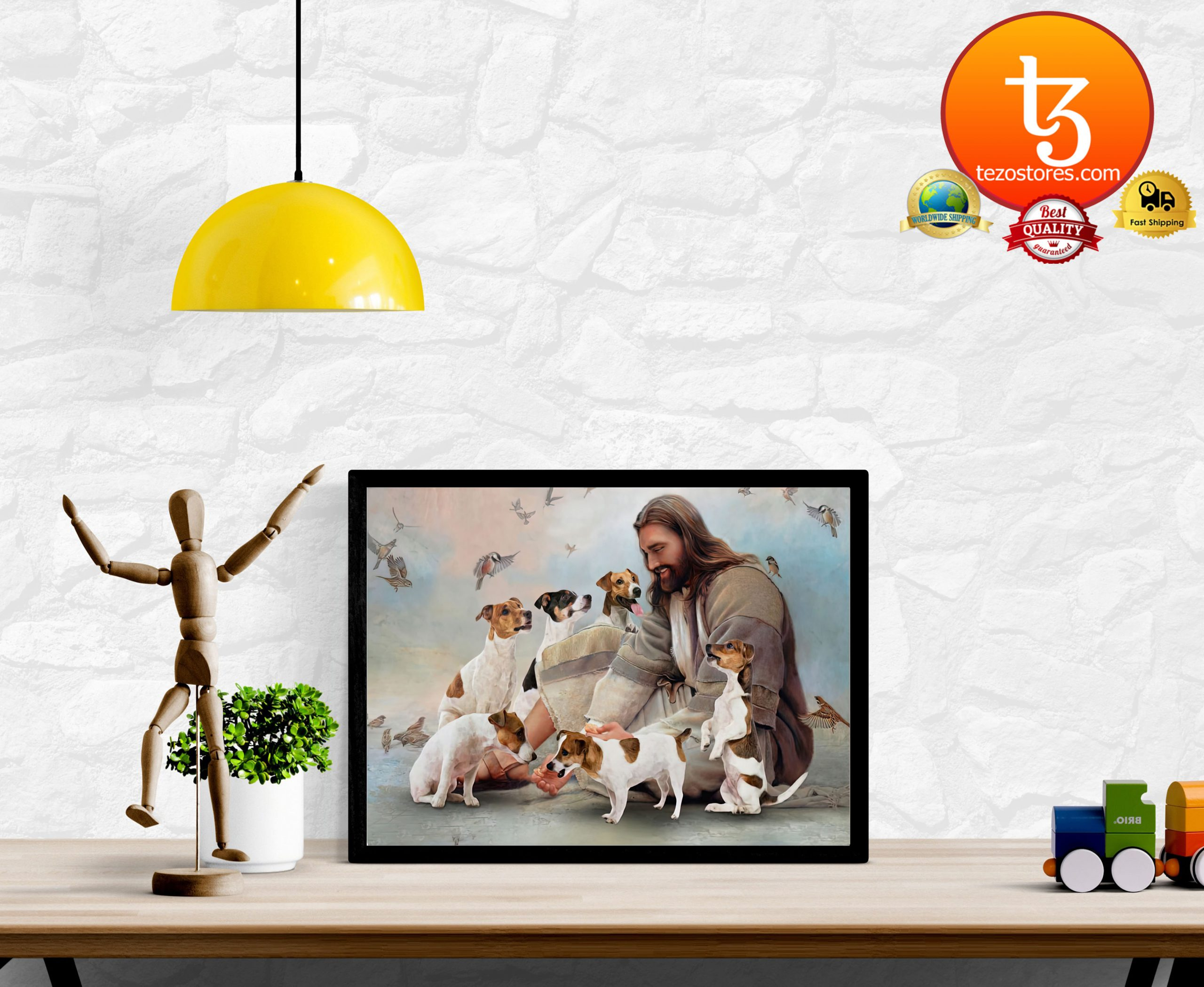 God surrounded by Jack Russell Poster2