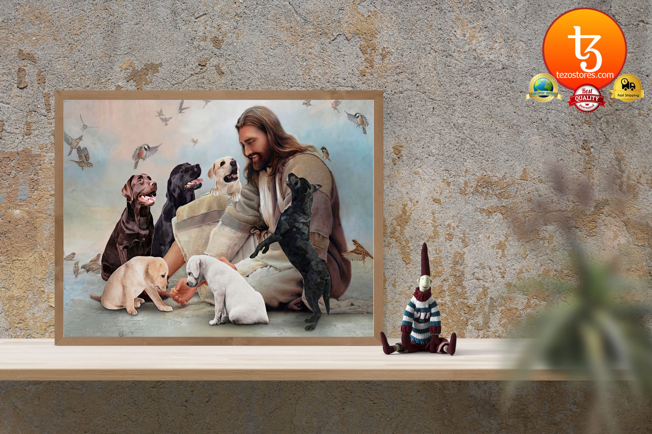 God surrounded by Labrador angels Poster3
