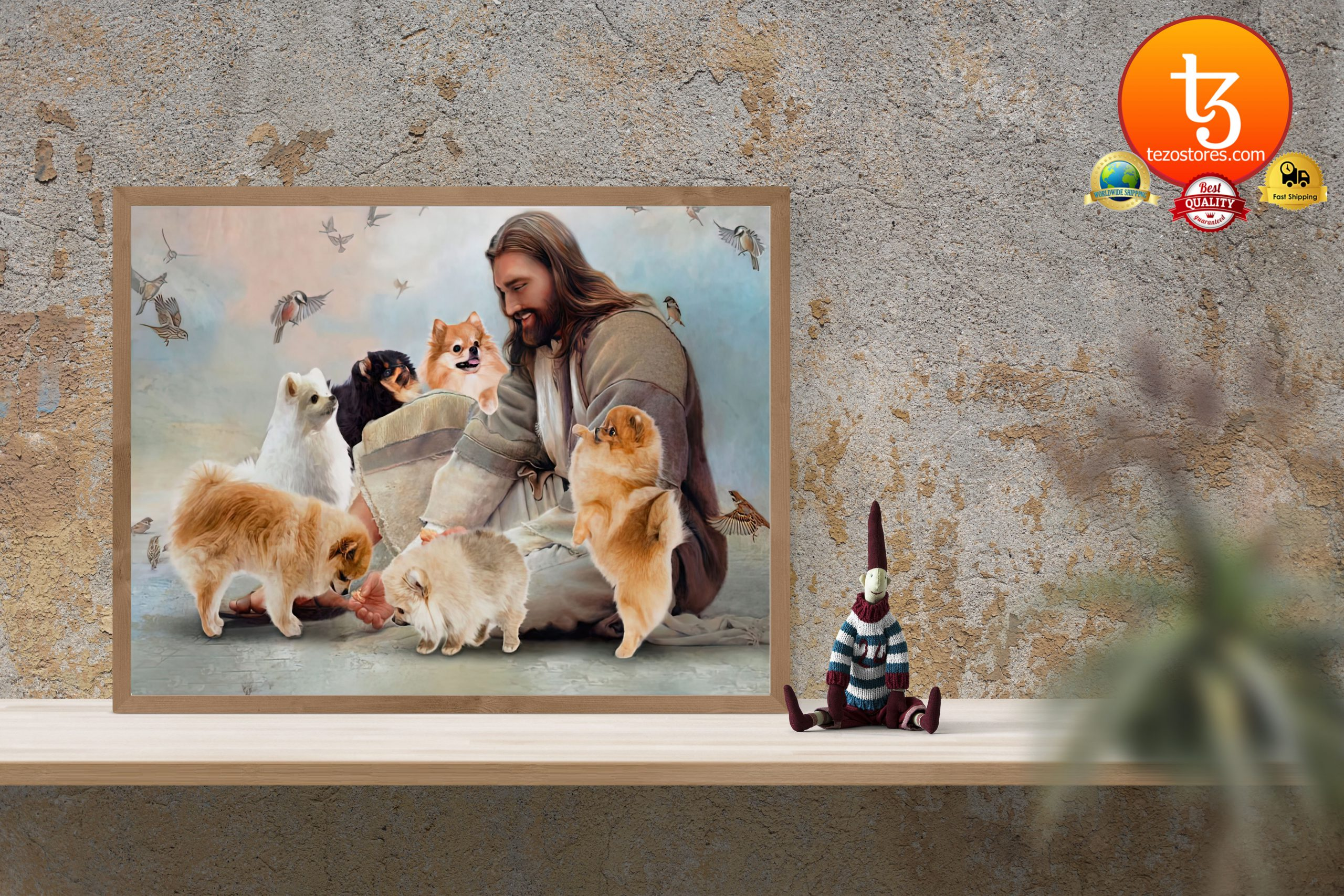 God surrounded by Pomeranian angels Gift for u Poster3