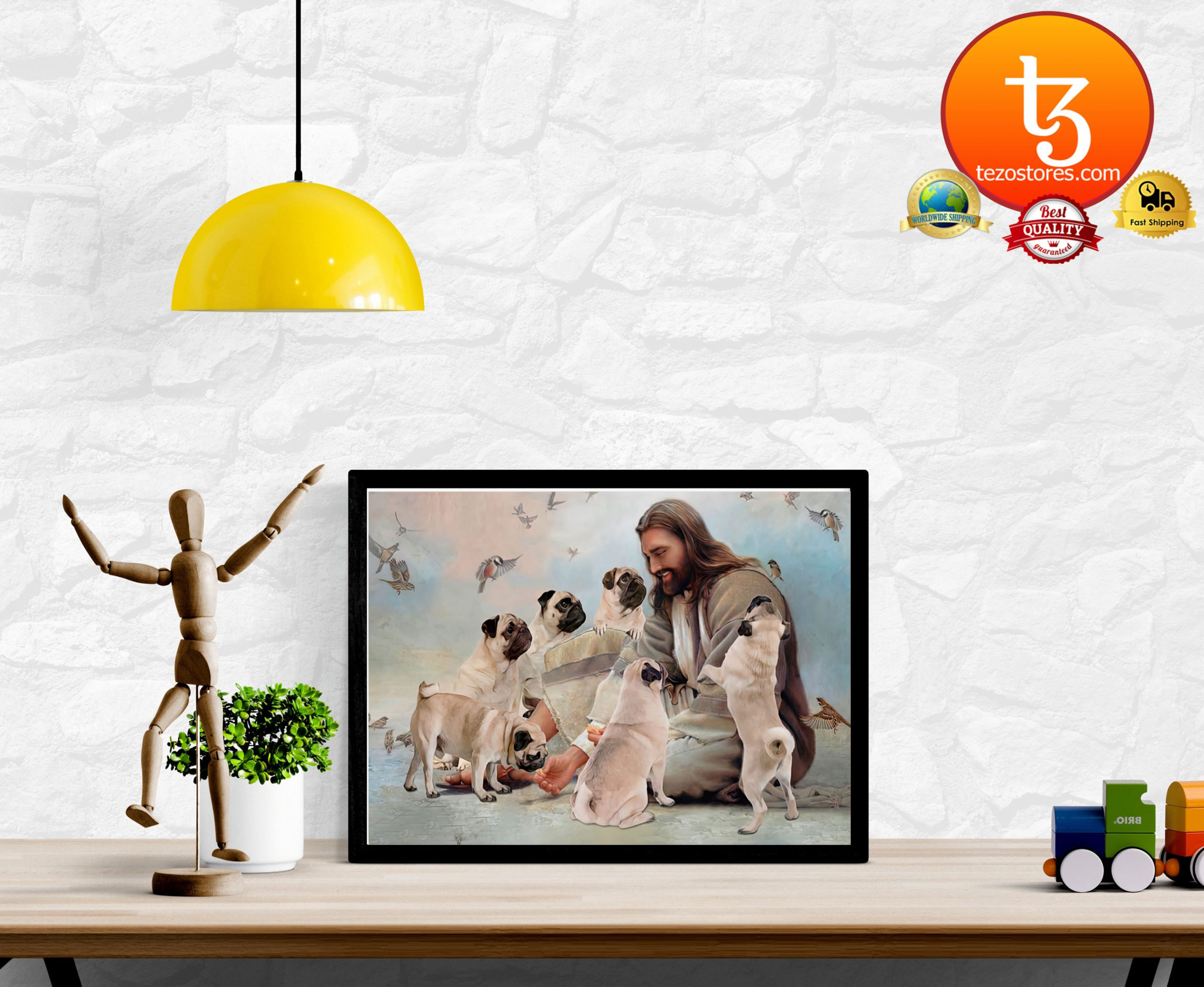 God surrounded by Pug angels Poster2