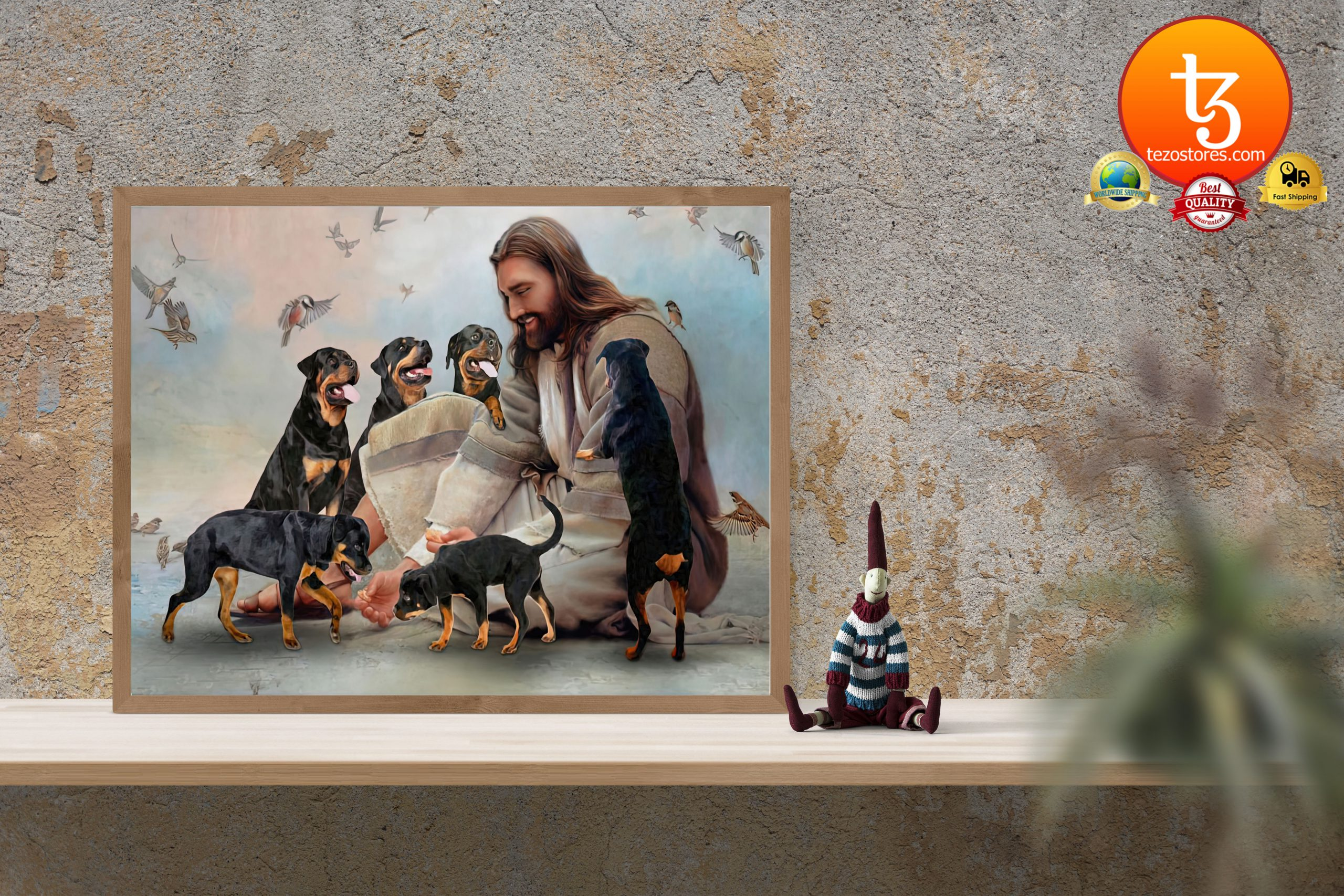 God surrounded by Rottweiler angels Poster3