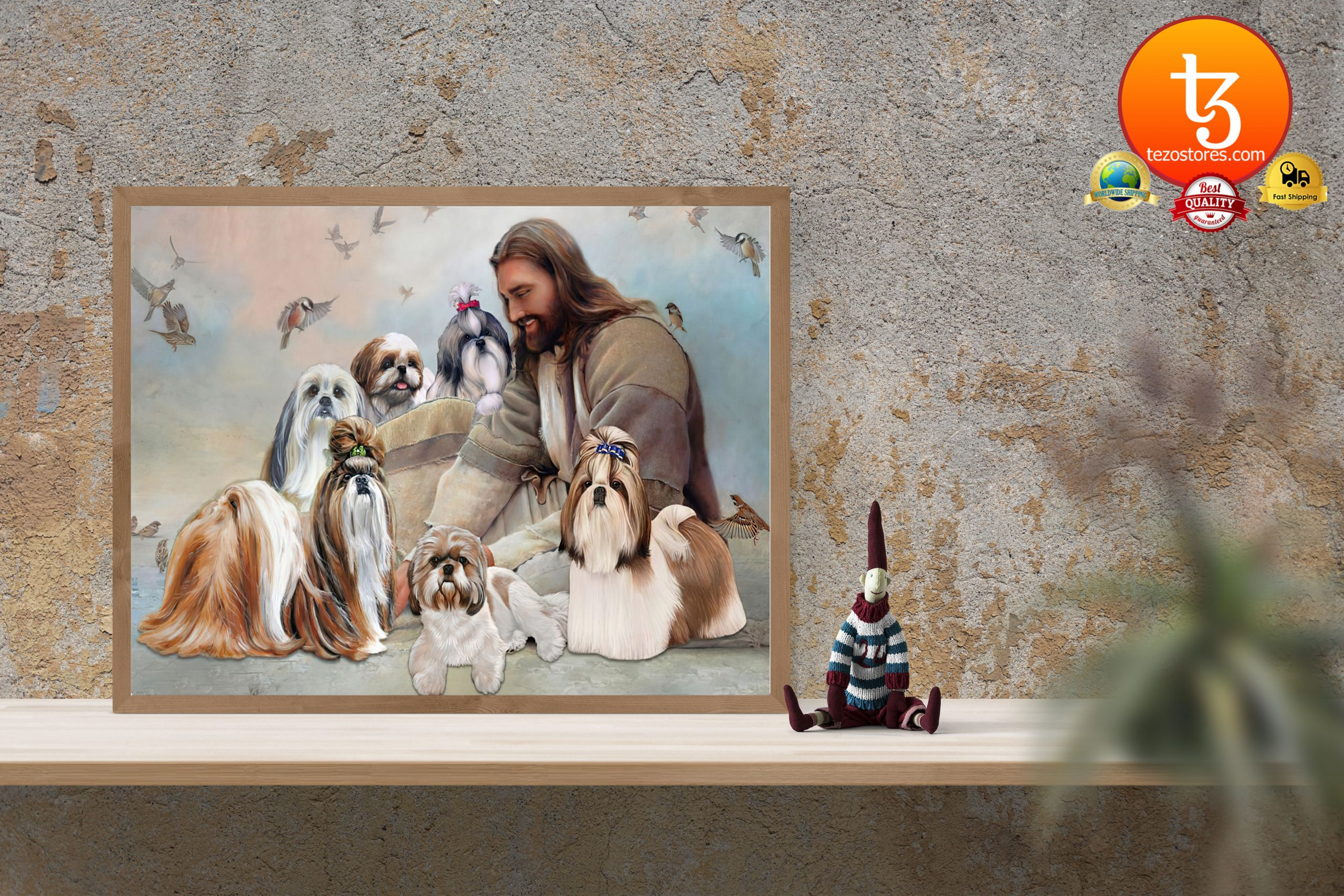 God surrounded by Shih Tzu angel Poster3