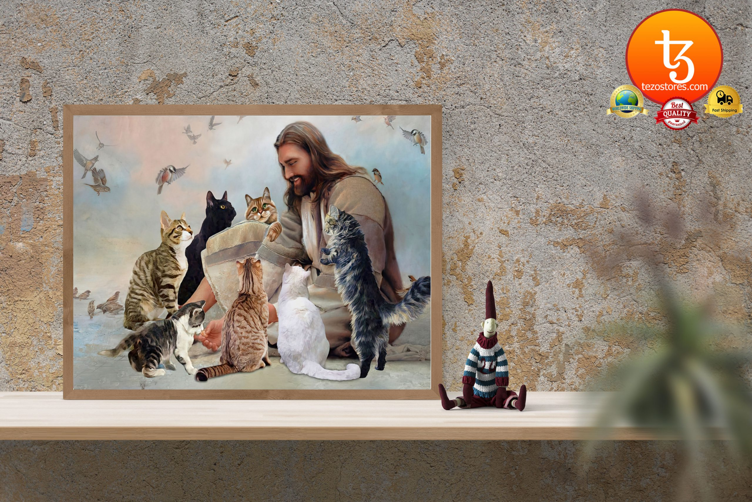 God surrounded by cats angels Poster3