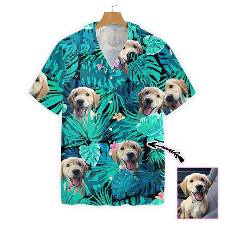Golden Retriever Custom Photo Hawaiian Shirt3