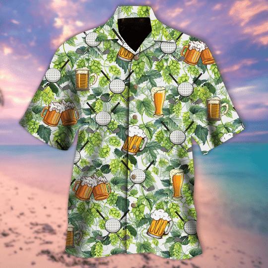 Golf and beer aloha hawaiian shirt