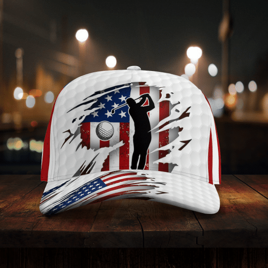 Golfer American flag cap4