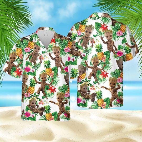Groot pineapple hawaiian shirt and short
